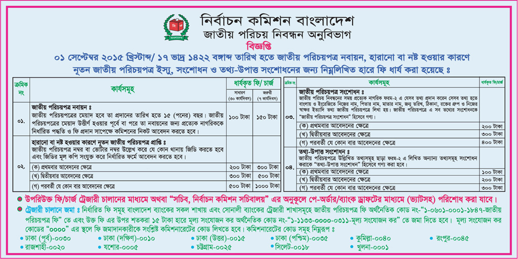 National id card bangladesh online correction photo change application fee list for national id card yelopaper Gallery