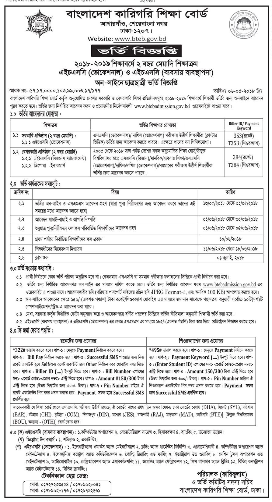 HSC Vocational Admission Circular & Result 2019