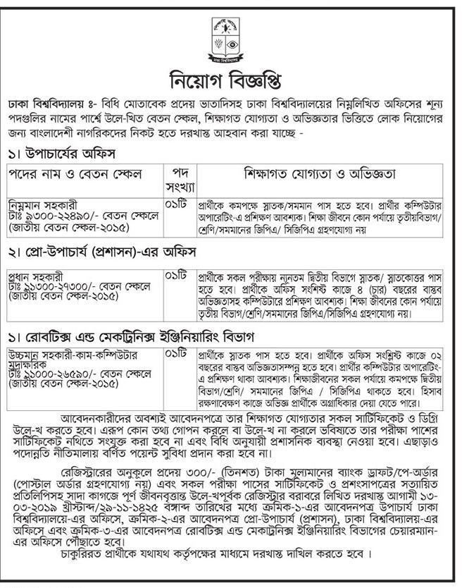 Public and Private University Job Circular 2019